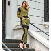 Conjunto de Calça e Blusa Detalhe no Ombro-10017Militar