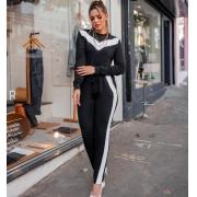 Conjunto de Moletinho Calça e Blusa com detalhe superior - 10074Preto