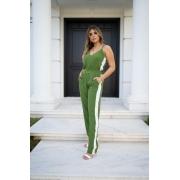 Conjunto feminino faixa lateral moda alça soltinho luxuoso