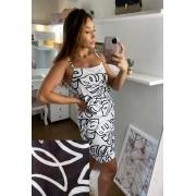 Vestido Estampado de Alcinha - 30058Preto - PRETO