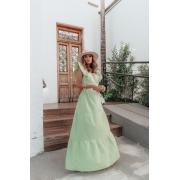 Vestido Longo 3 Marias Babado Manga - 30074Oliva