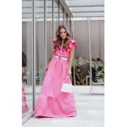Vestido Longo 3 Marias Babado Manga - 30074Rosa