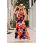 Vestido Longo c/ Fenda - 30064PretoLaranja