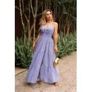 Vestido Longo Listrado - 30067Azul