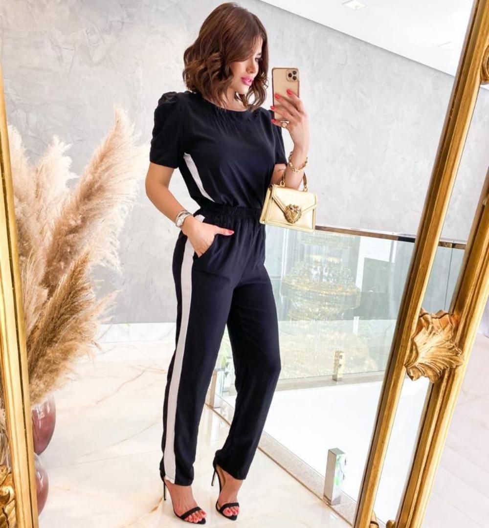 Conjunto de calça e blusa manga curta-10033Preto