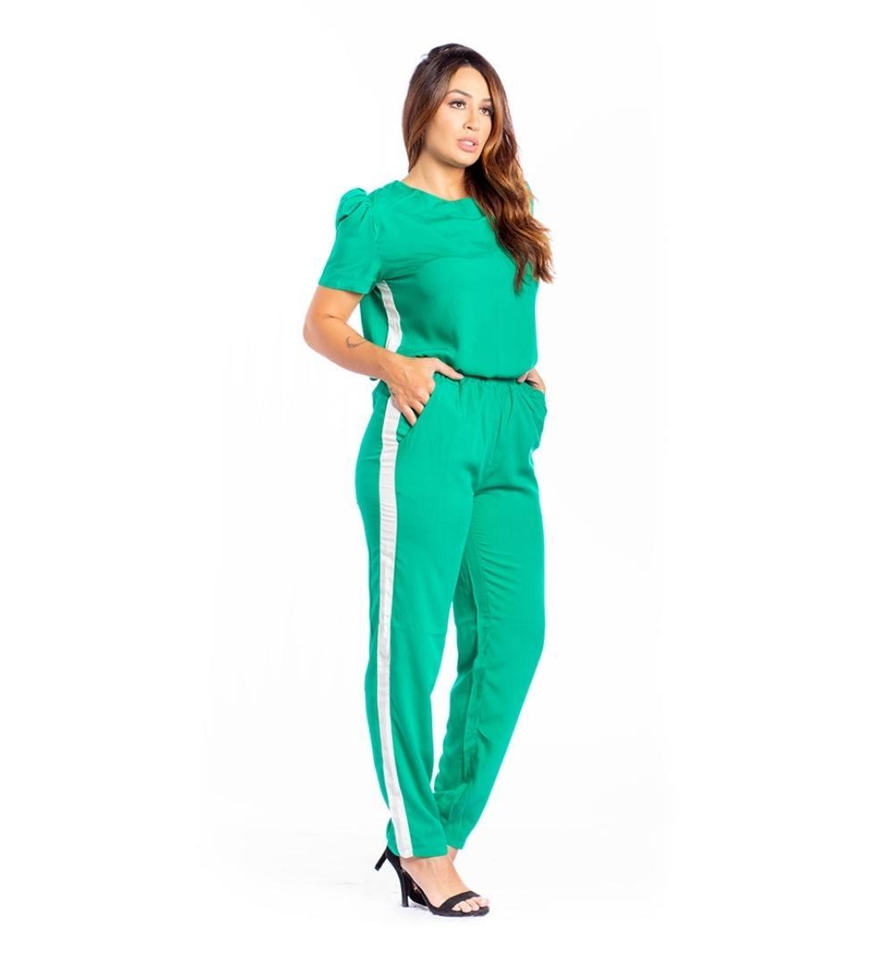 Conjunto de calça e blusa manga curta-10033Verde