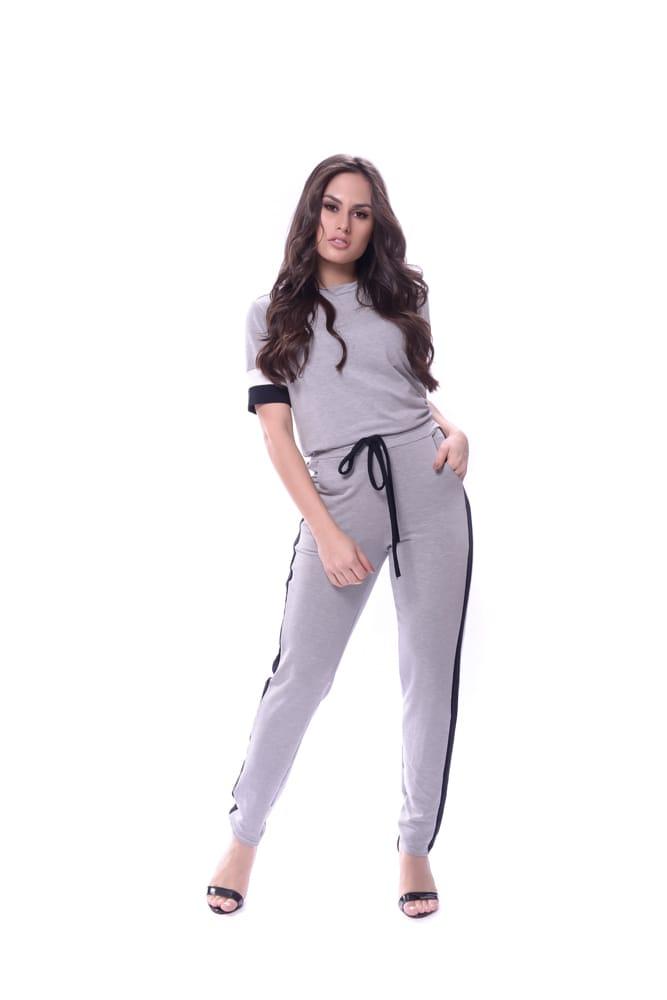 Conjunto de moletinho de viscose de calça e blusa manga curta - Lamar