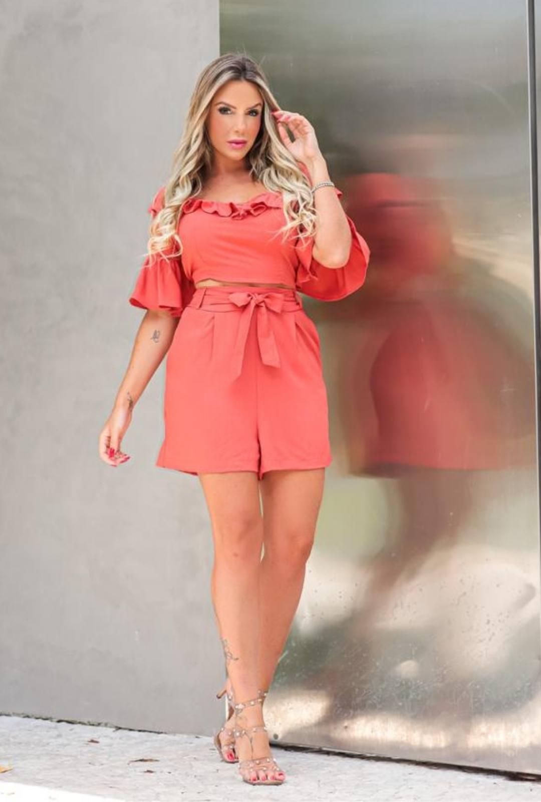 Conjunto de Shorts Blusa Babados - 10061Telha