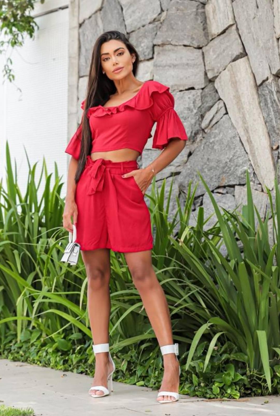 Conjunto de Shorts Blusa Babados - 10061Vermelho
