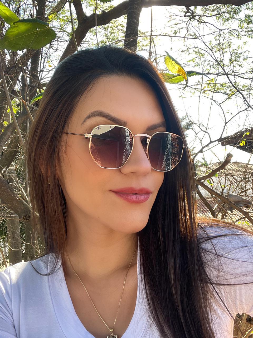 Óculos Exagonal Ana Dourado