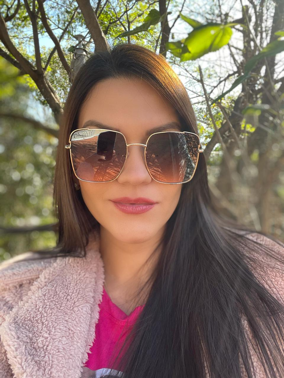 Óculos Mona Marrom com Dourado