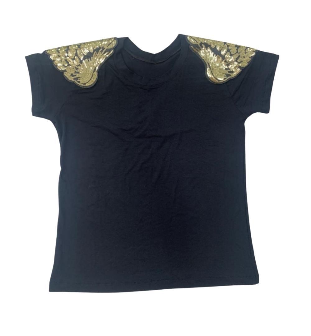 T-shirt Viscolycra com aplicação Asa- 60026Preto