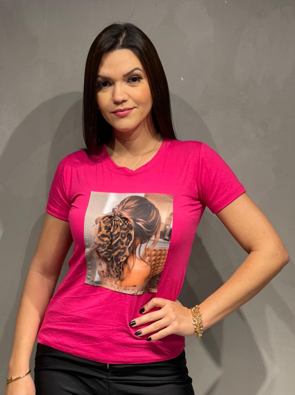T-shirt Viscolycra com aplicação Laço- 60028LaçoPink