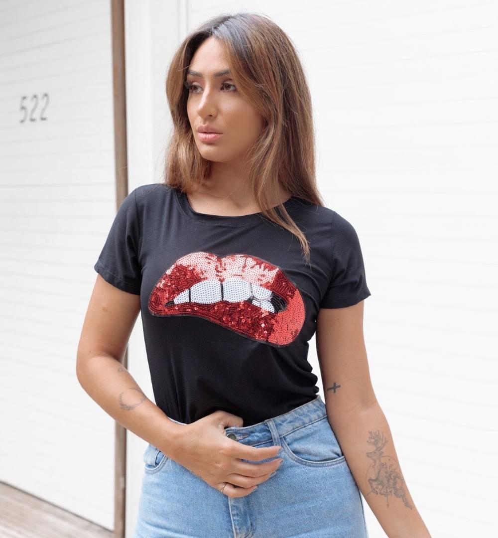 T-shirt Viscolycra com aplicação Mordida - 60024Preto