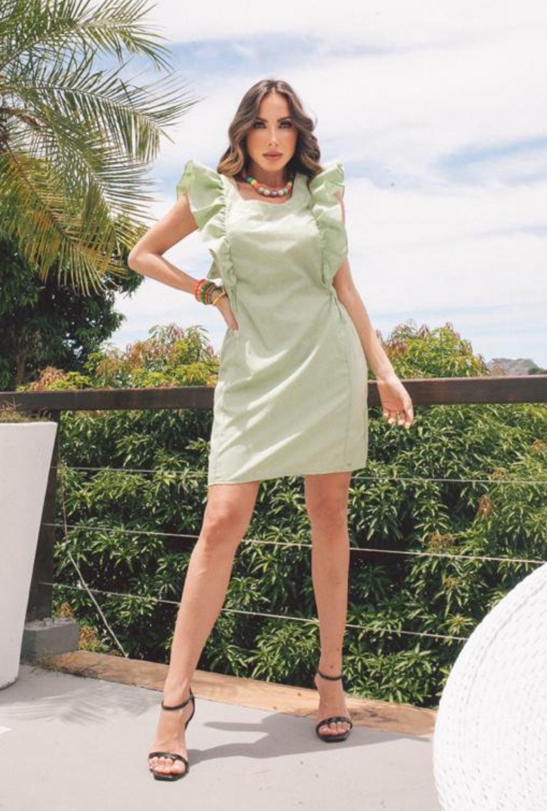 Vestido Curto c/ Babados no Ombro - 30073Verde