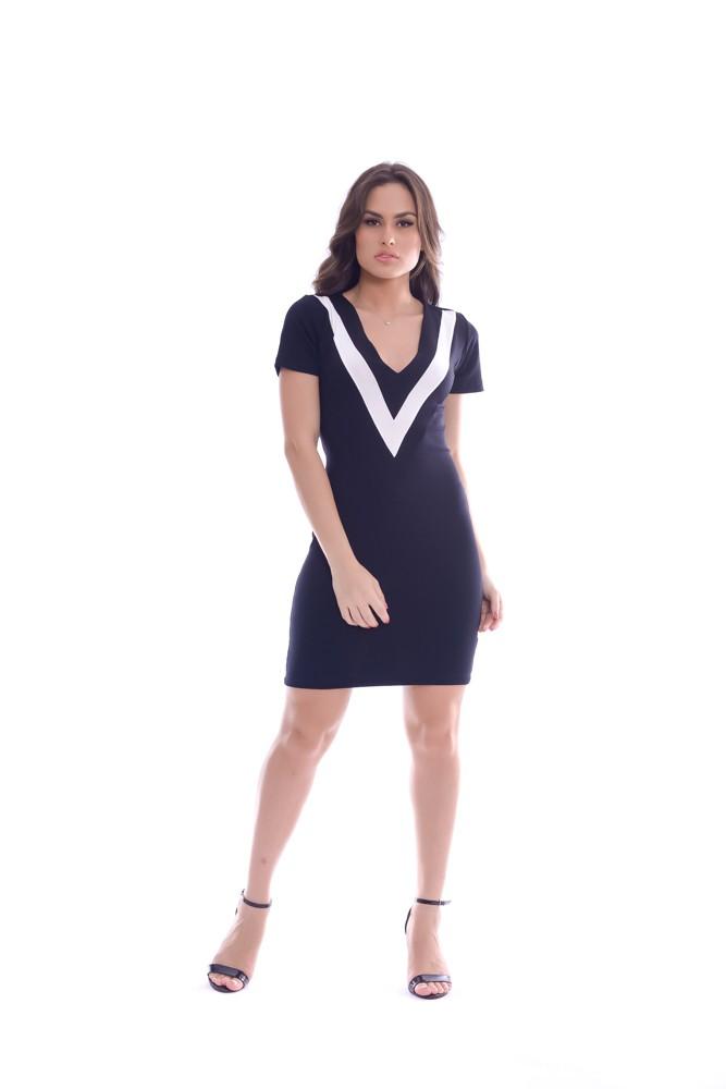 Vestido Curto Decote V - Life Colors