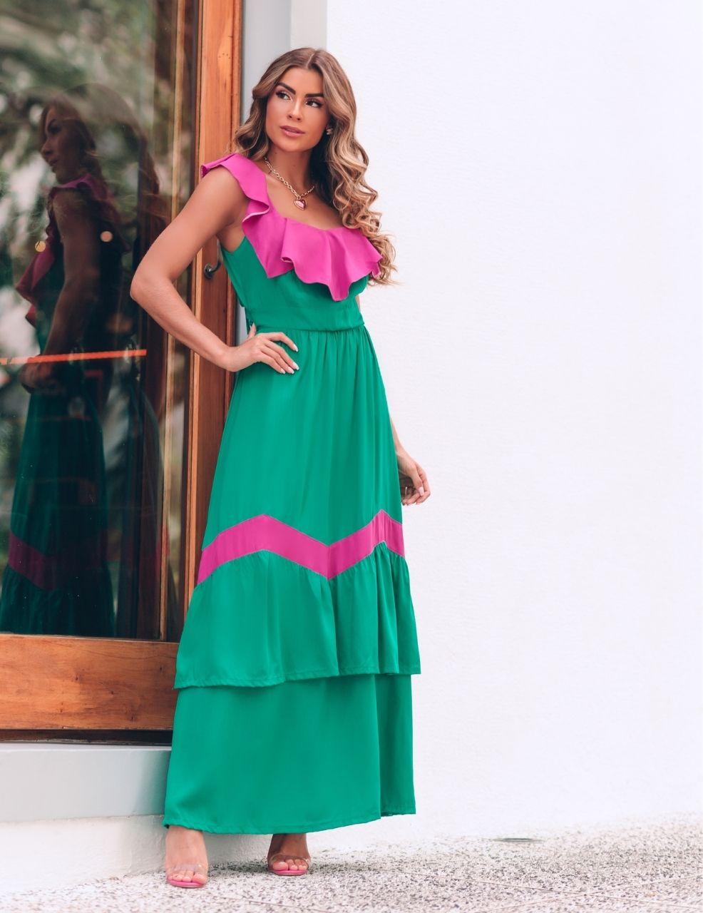 Vestido Longo 2 cores c/ Babados - Spring