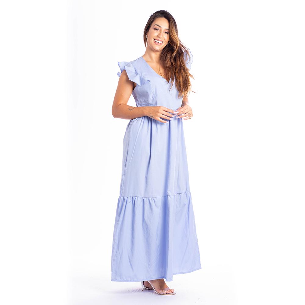 Vestido Longo c/ Babados - 30077Azul