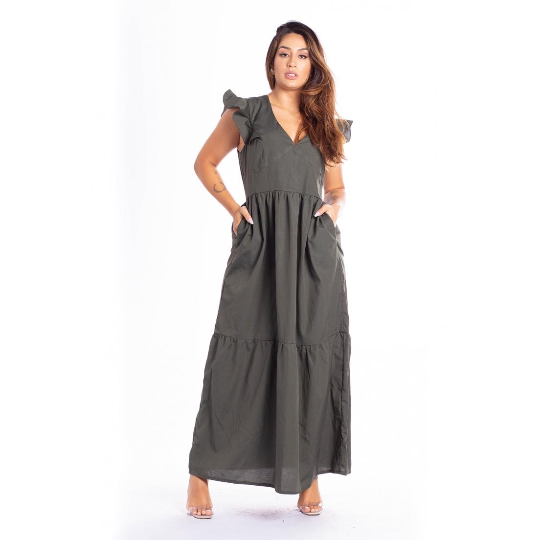 Vestido Longo c/ Babados - 30077Militar