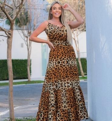 Vestido Longo de alcinha Animal Print - 30037Marrom