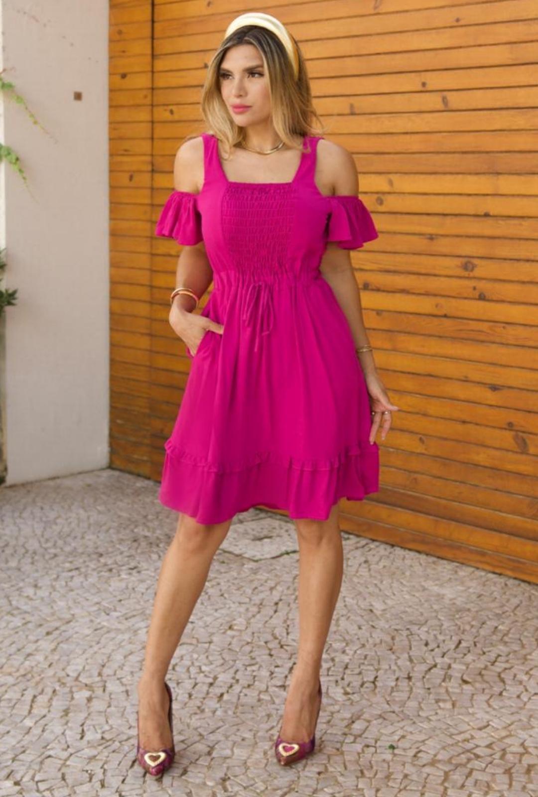 Vestido Ombro Caido - 30070Pink