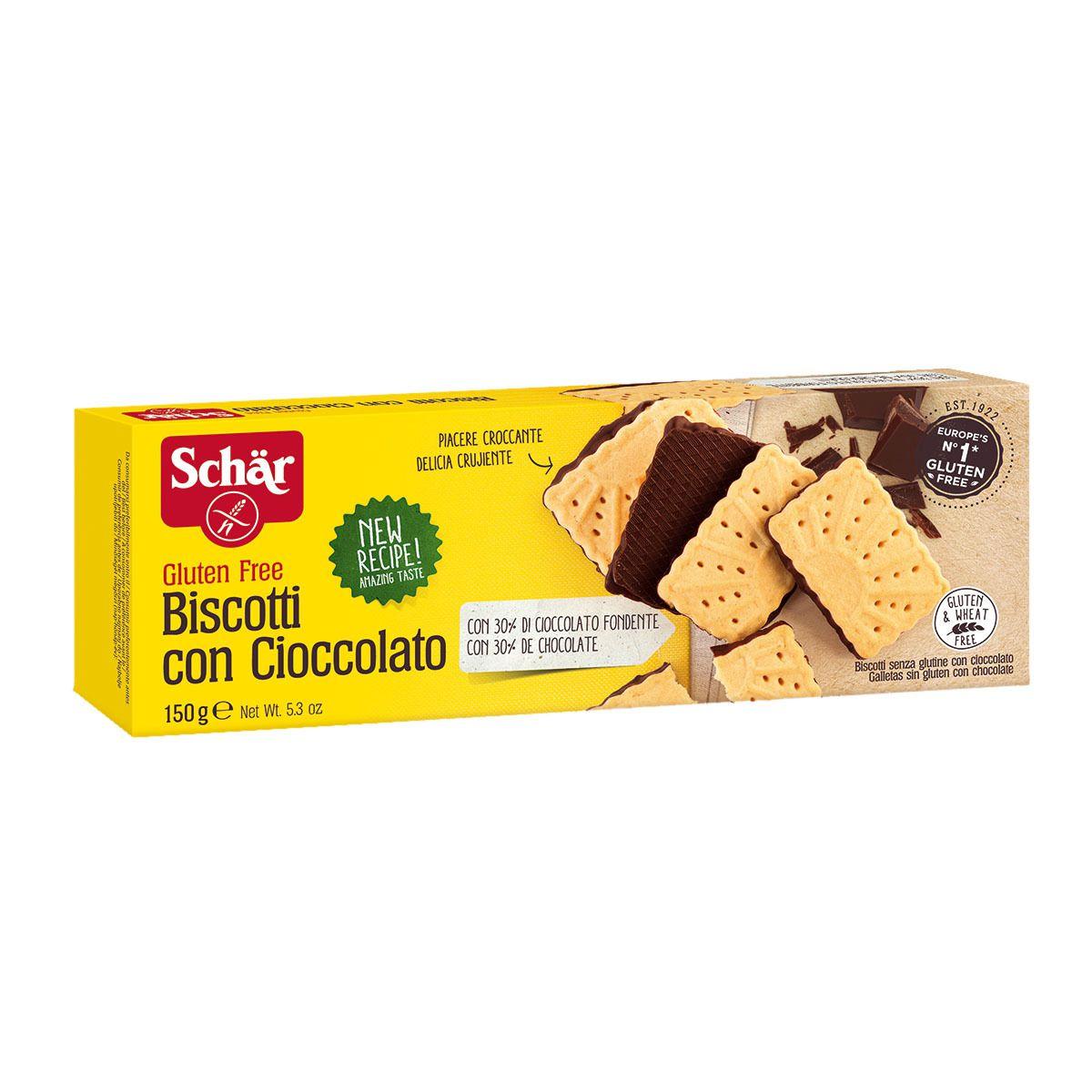 BISCOITO COM CHOCOLATE SEM GLUTEN SCHAR - 150G