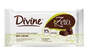 Divine  Chocolate Zero Meio Amargo 50% Cacau zero açúcar e zero lactose 100g