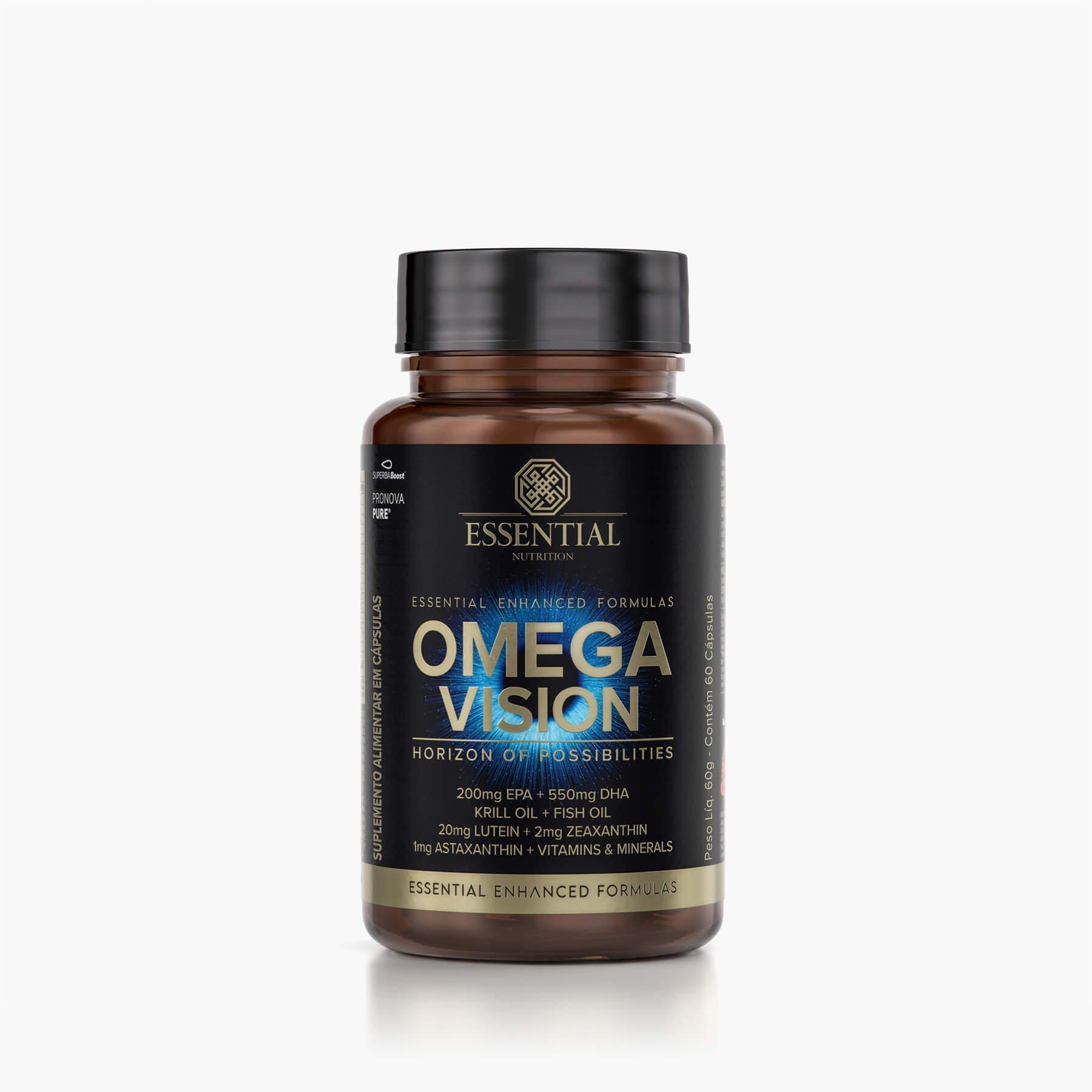ESSENTIAL OMEGA VISION 60 cápsulas - 30 doses Óleo de peixe (TG) + óleo de krill + nutrientes que auxiliam na visão