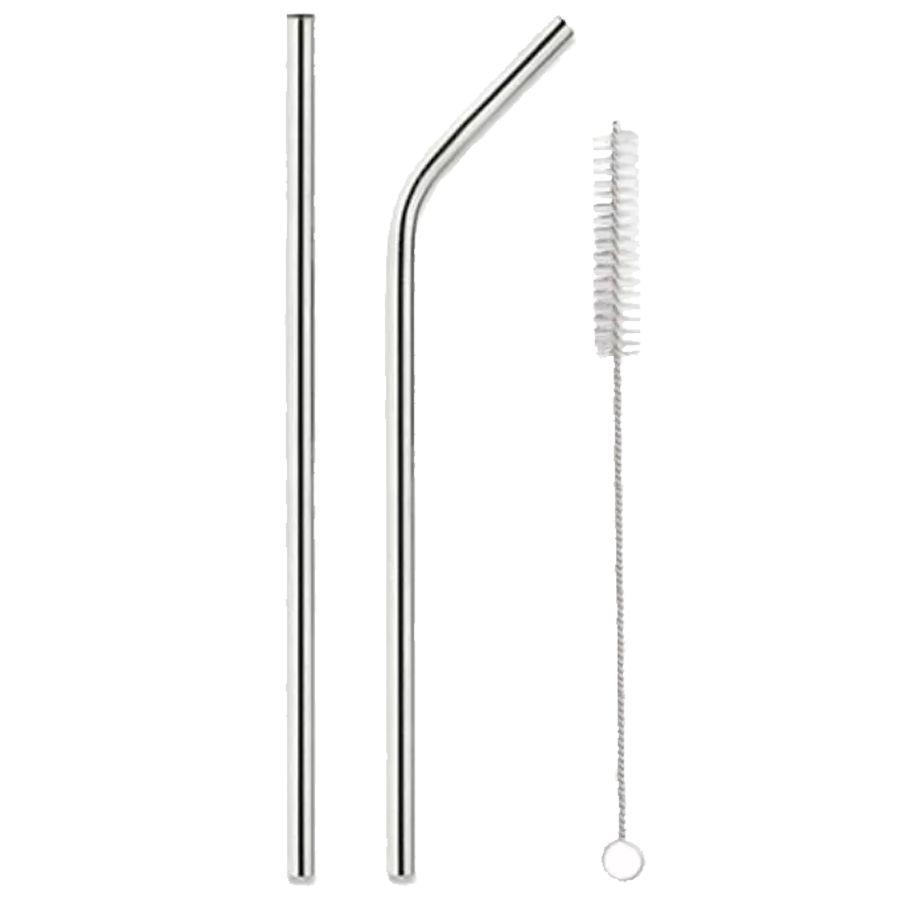 Kit canudos aço inox com 1 canudo reto, 1 canudo curvado e 1 escova para limpeza