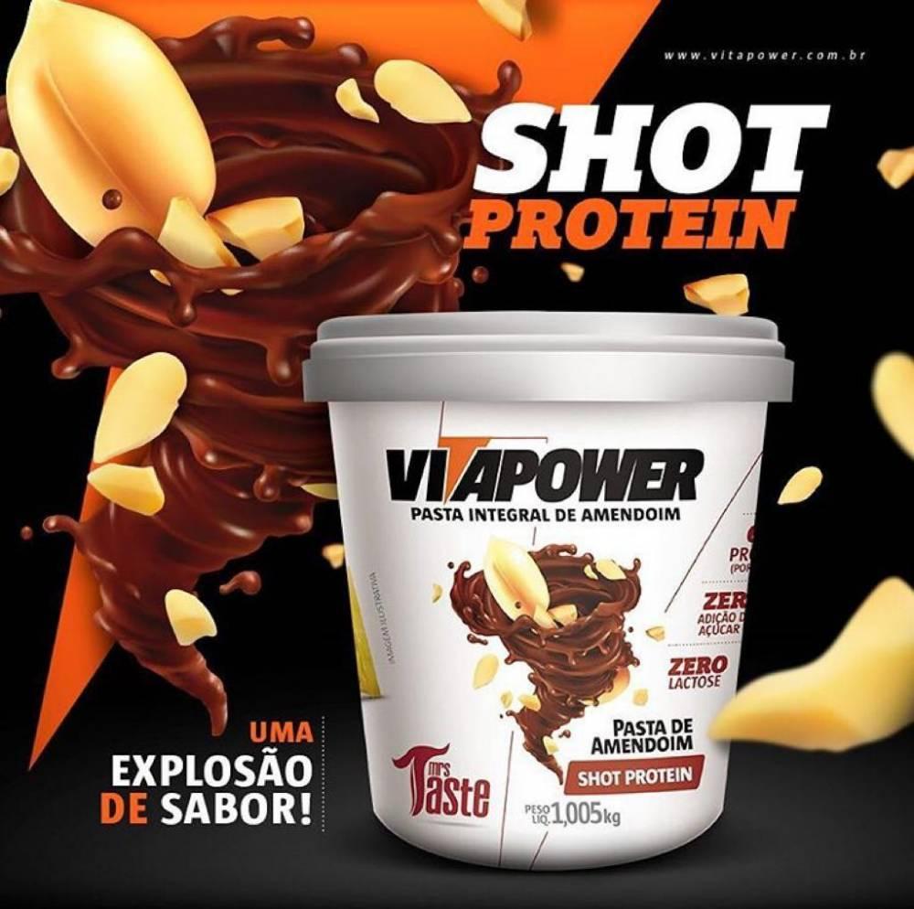 Pasta de Amendoim Shot Protein (1kg) - Vitapower