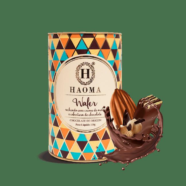 Wafer recheado com creme de avelã e cobertura de chocolate HAOMA