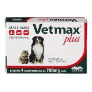 Vermifugo Vetmax Plus Vetnil Para Cães E Gatos 700mg - 4 Comprimidos