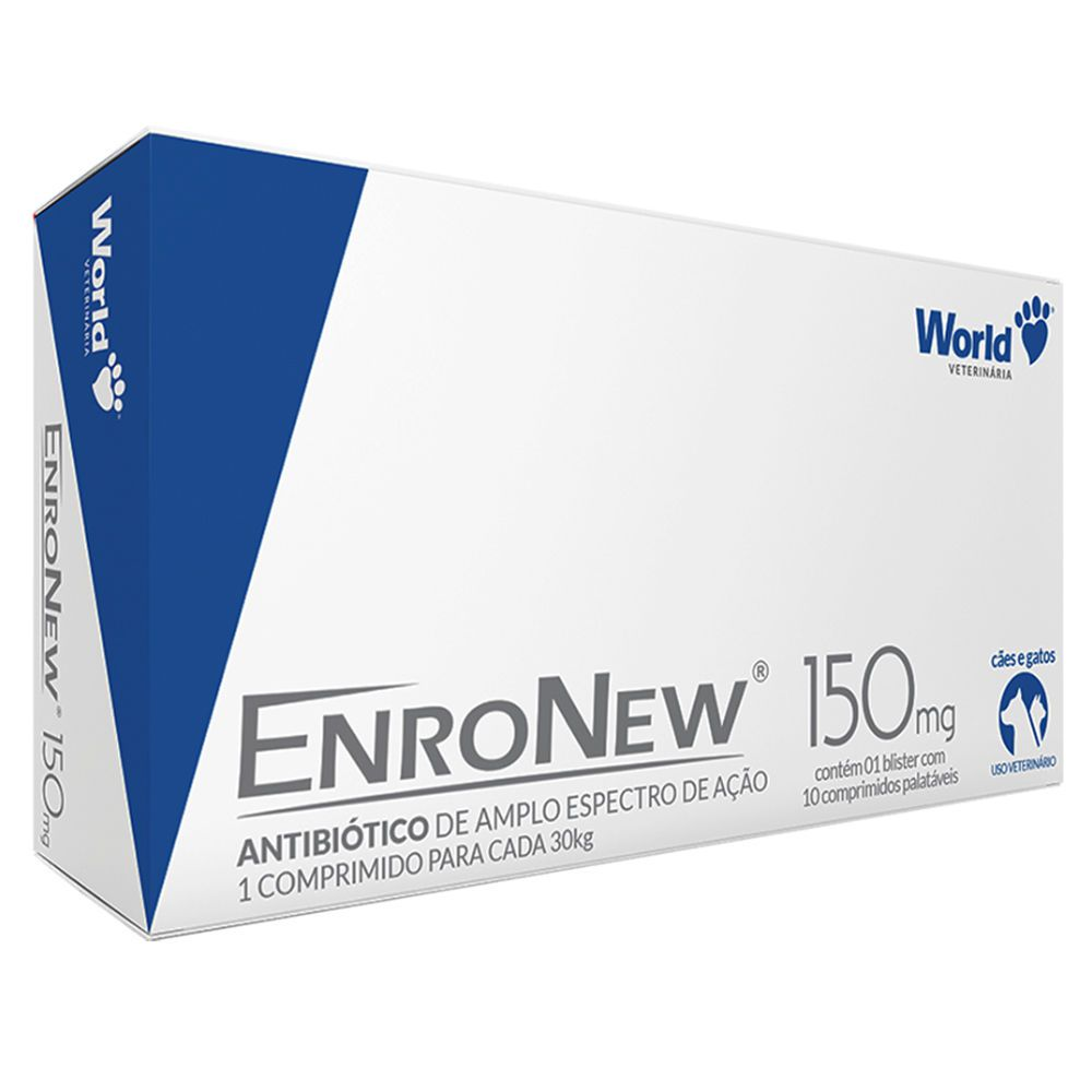 Antibiótico Enronew 150mg World Pet com 10 Comprimidos