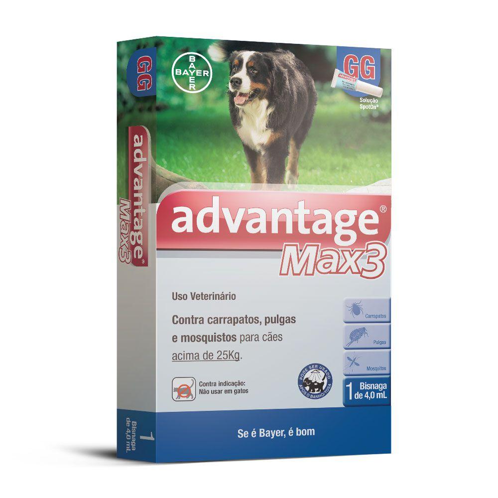 Antipulgas Advantage Max3 para Cães Acima De 25kg Tamanho Gg