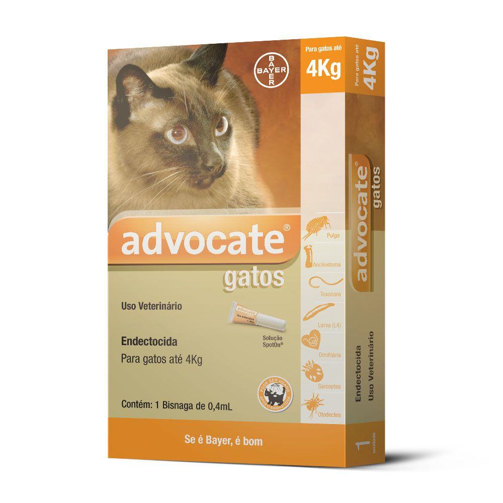 Antipulgas Bayer Advocate para Gatos até 4 Kg - 0,4 ml