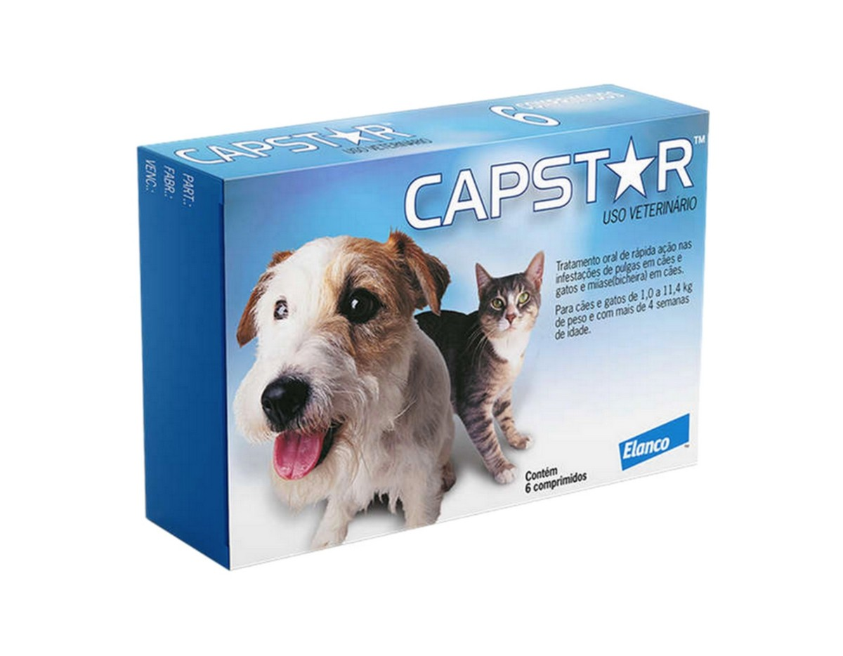 Antipulgas Capstar Elanco 11mg para Cães E Gatos até 11kg - 6 Comprimidos