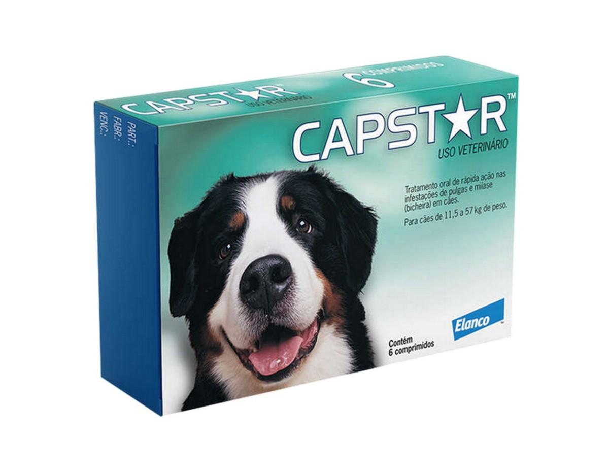 Antipulgas Capstar Elanco 57mg para Cães De 11 A 57kg - 6 Comprimidos