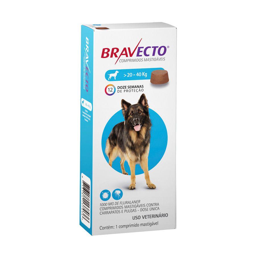 Bravecto MSD Antipulgas e Carrapatos para Cães de 20 A 40 kg