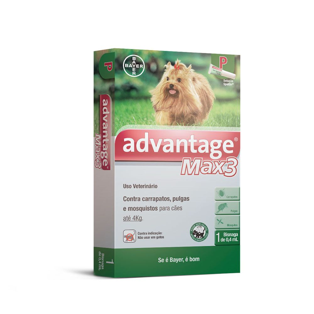 Antipulgas e Carrapatos Advantage Max 3 Caes Bayer Até 4kg