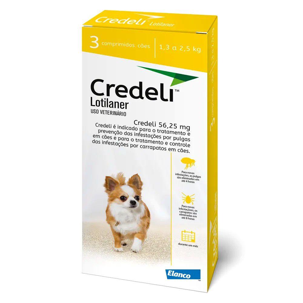 Antipulgas E Carrapatos Credeli para Cães 1,3 A 2,5kg - 3 Comprimidos