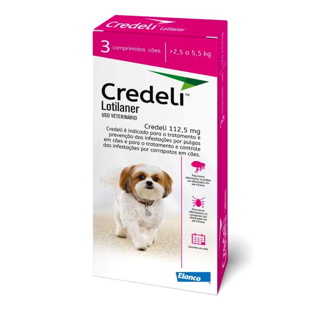 Antipulgas E Carrapatos Credeli para Cães 2,5 A 5,5kg - 3 Comprimidos