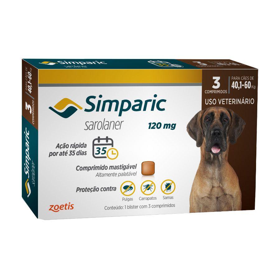 Antipulgas e Carrapatos Simparic 80mg para Cães de 40kg Até 60kg