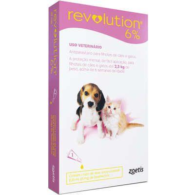 Antipulgas e Carrapatos Zoetis Revolution 6% Para Cães E Gatos Filhotes Até 2,5 kg
