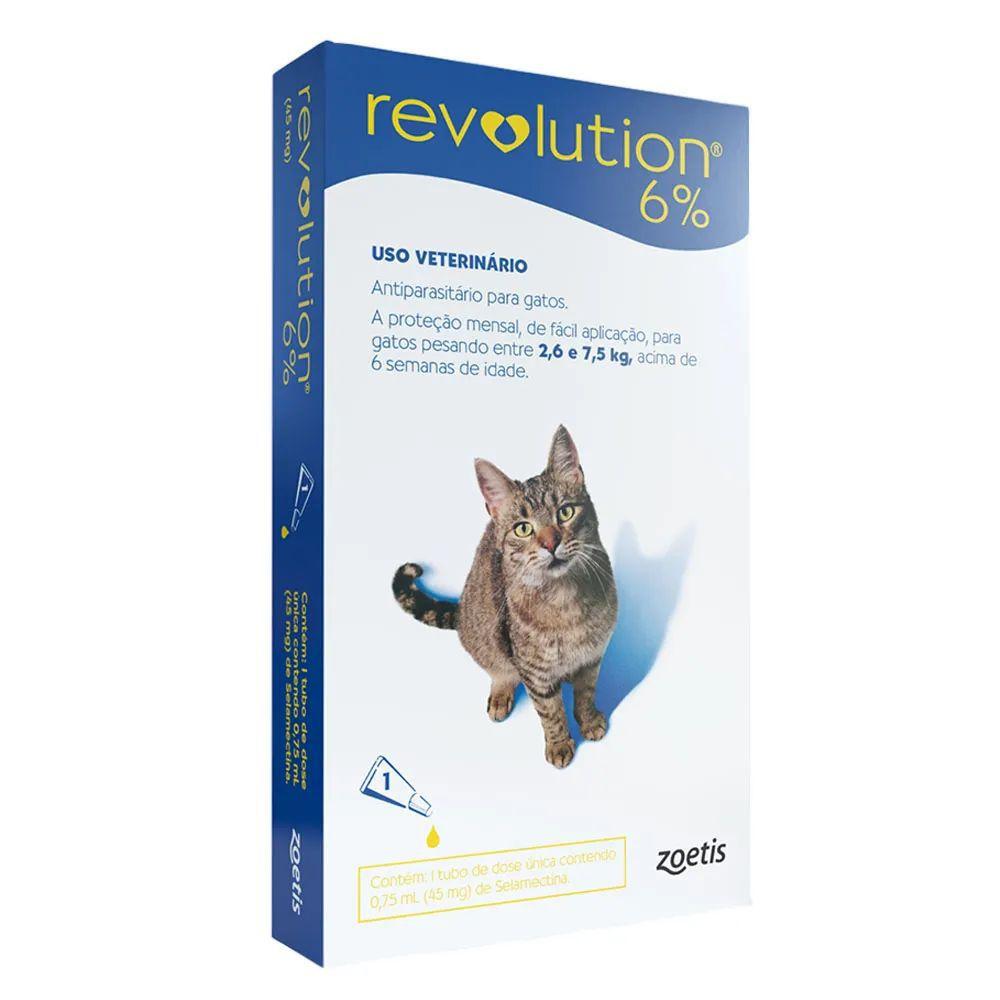 Antipulgas e Carrapatos Zoetis Revolution 6% Para Gatos de 2,5 a 7,5 kg