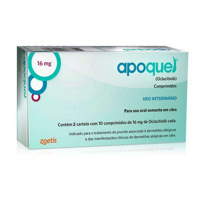 Apoquel 16 mg Dermatológico Anti Coceira Cães - 20 Comprimidos