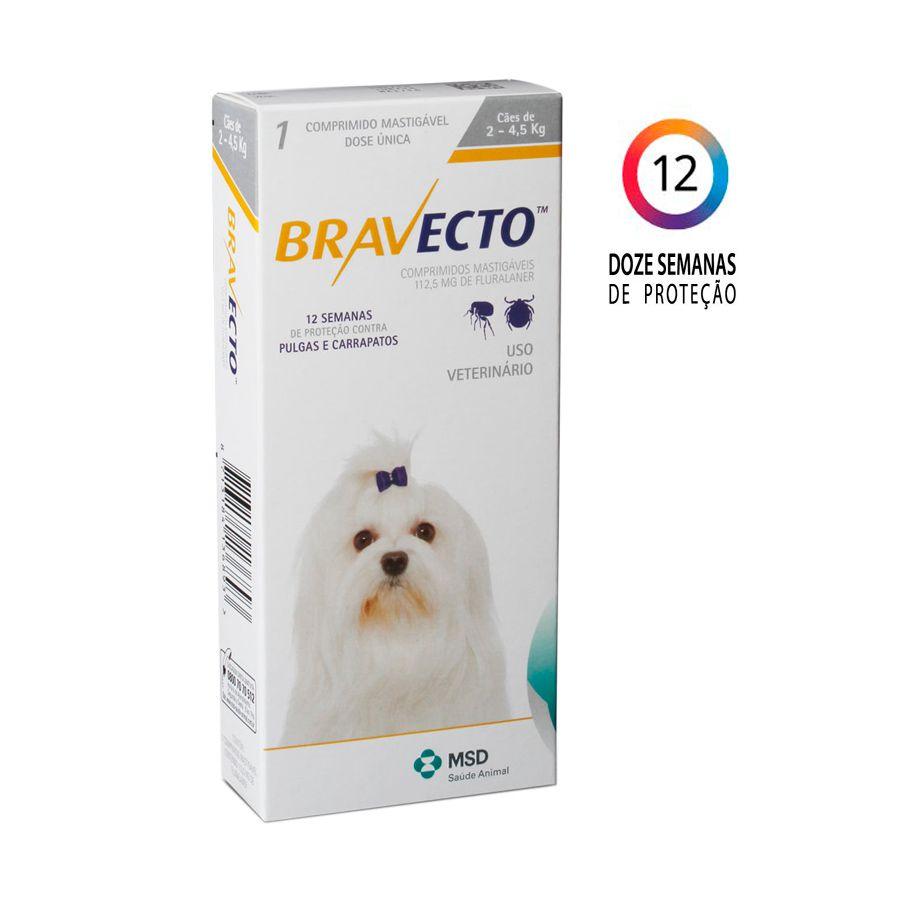 Bravecto MSD Antipulgas e Carrapatos para Cães de 2,5 A 4,5 kg