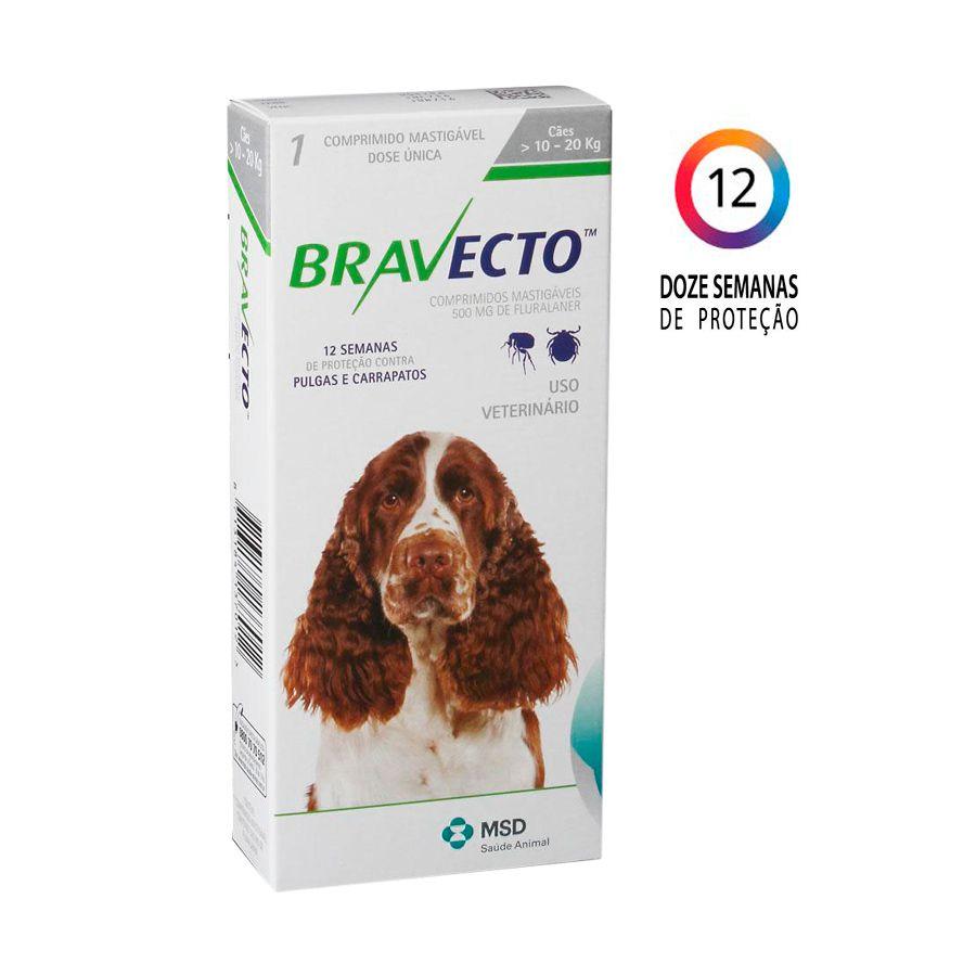 Bravecto MSD Antipulgas e Carrapatos para Cães de 10 A 20 kg