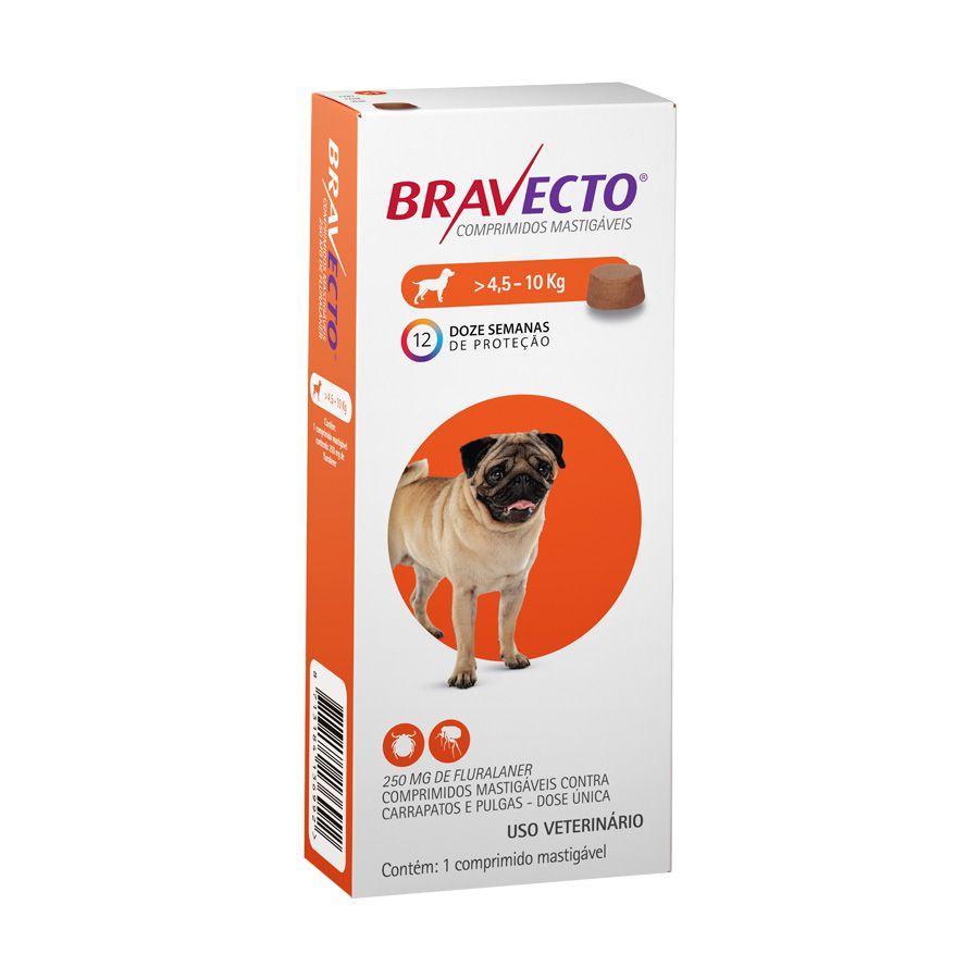 Bravecto MSD Antipulgas e Carrapatos para Cães de 4,5 A 10 kg
