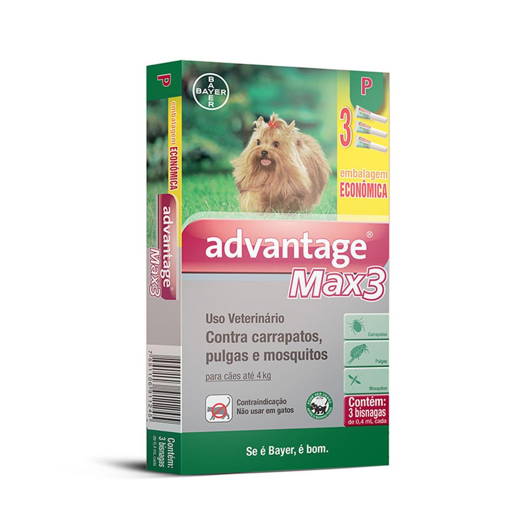 Combo Antipulgas e Carrapatos Advantage Max 3 Caes Bayer Até 4kg