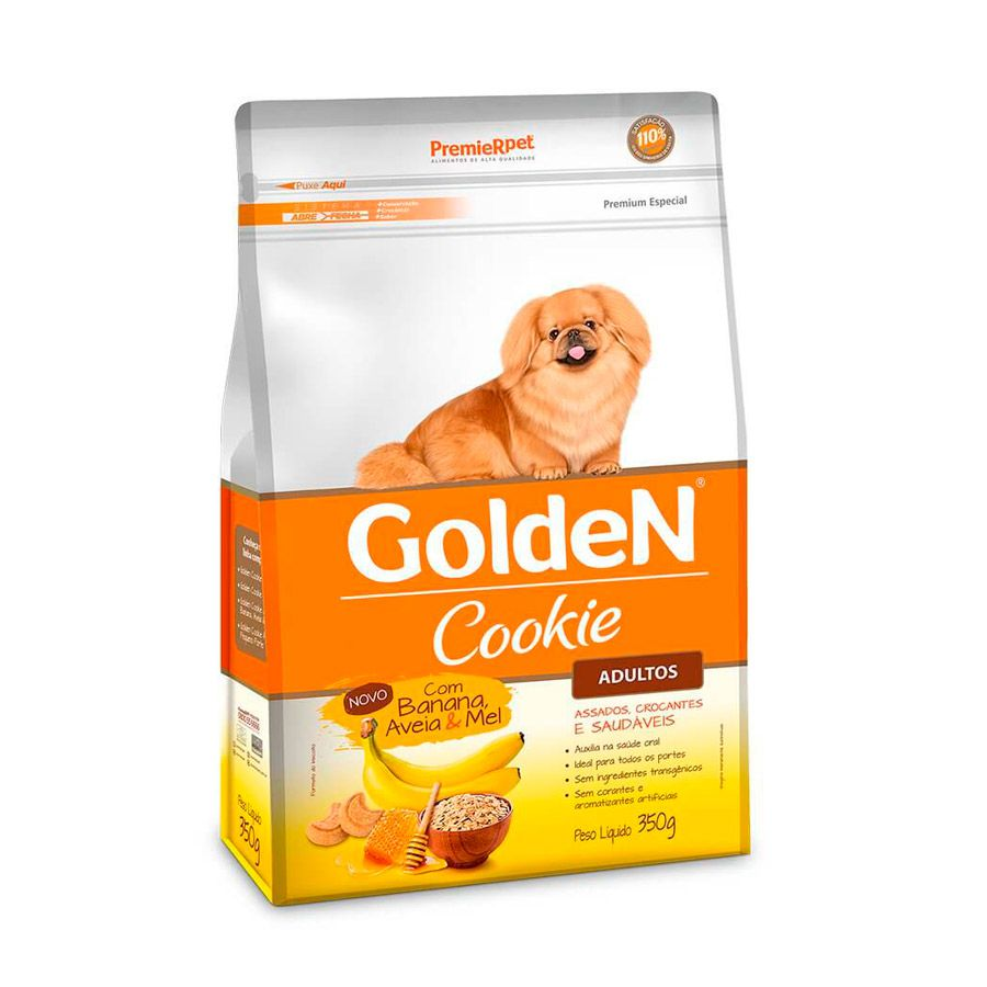 Petisco Golden Cookie Cães Adultos Banana Aveia Mel 350g
